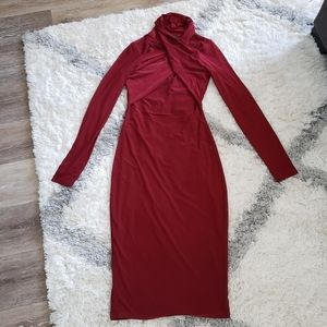 MISSGUIDED Midi Sexy  Red Dress